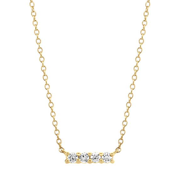Four-Stone Diamond Bar Necklace in 14k Yellow Gold (18 in)