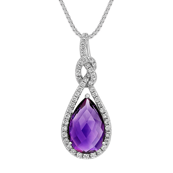 Pear-Shaped Amethyst and Round Diamond Pendant in 14k White Gold (18 in)