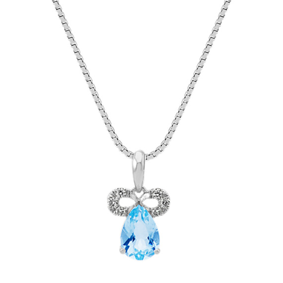 Pear-Shaped Aquamarine and Round Diamond Pendant (20 in)