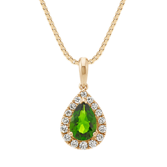 Pear-Shaped Chrome Diopside and Diamond Halo Pendant (18 in)