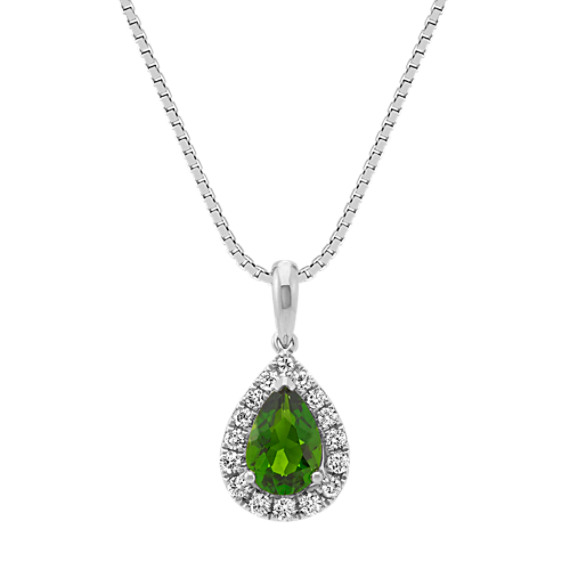 Pear-Shaped Chrome Diopside and Round Diamond Pendant (18 in)