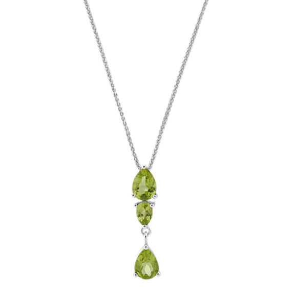Pear-Shaped Green Peridot Pendant (24 in)