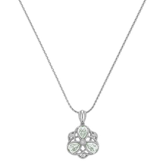 Pear-Shaped Quartz & Diamond Pendant (24 in) image