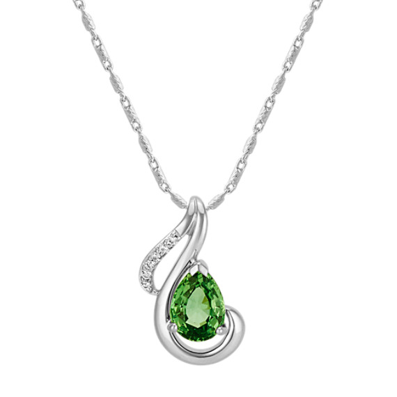 Pear-Shaped Green Sapphire and Round Diamond Teardrop Pendant (22 in)