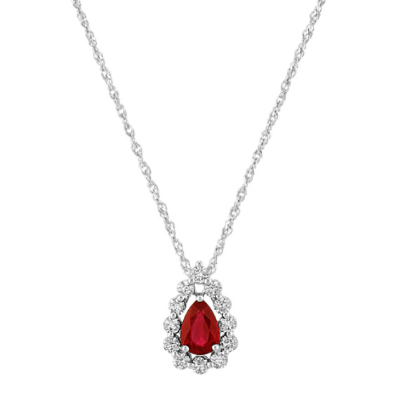Pear-Shaped Ruby and Diamond Pendant (20 in)