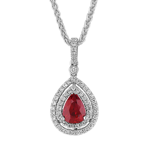 Pear-Shaped Ruby and Round Diamond Double Halo Pendant (18 in)