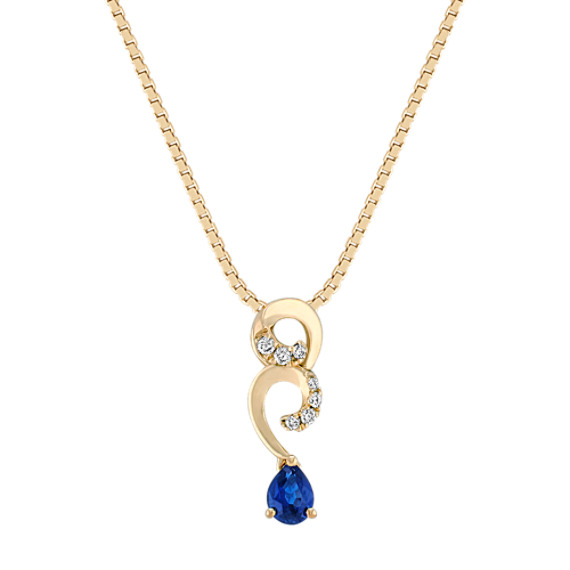 Pear-Shaped Sapphire and Diamond Swirl Pendant (18 in)