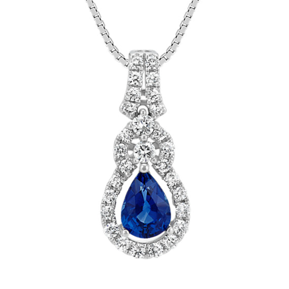 Pear-Shaped Traditional Sapphire and Diamond Pendant (18 in)