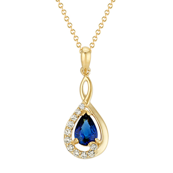 Pear-Shaped Traditional Sapphire and Round Diamond Pendant (22 in)