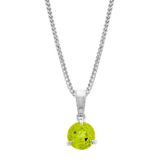 Peridot Solitaire Pendant in Sterling Silver (22 in)