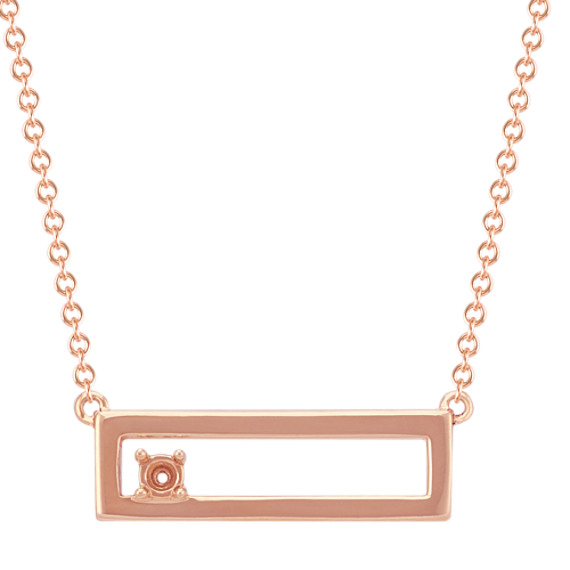 "Personalized Cutout Bar Necklace for Round Gemstone in 14k Rose Gold (18"")"