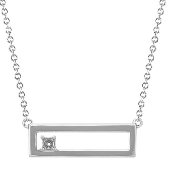 Personalized Cutout Bar Necklace for Round Gemstone in 14k White Gold (18 in)