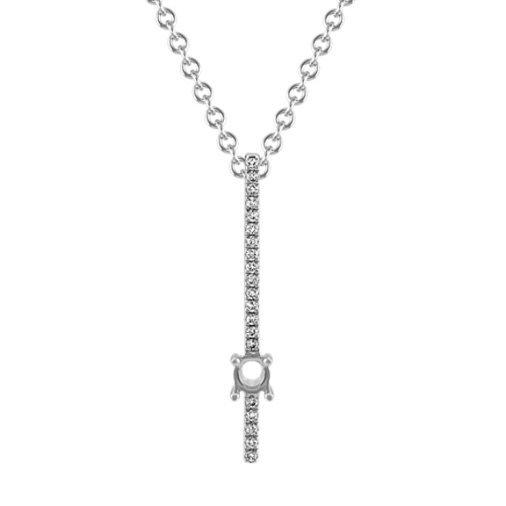 Personalized Diamond Vertical Bar Pendant (22 in)