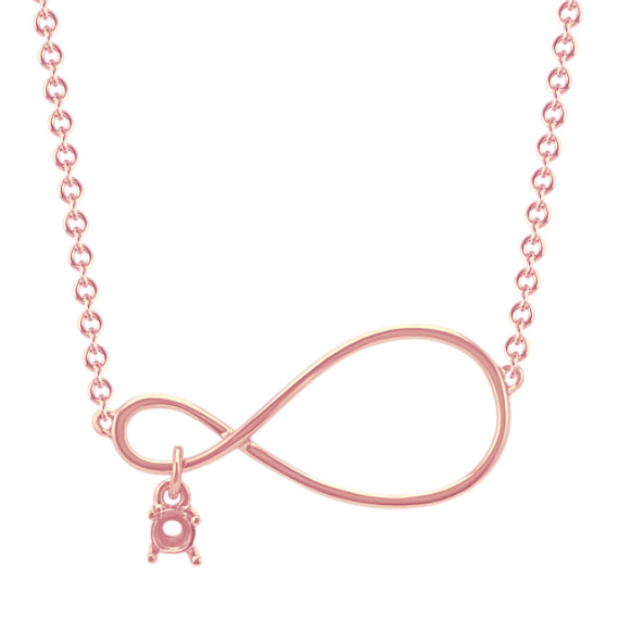 Personalized Infinity Necklace for Round Gemstone in 14k Rose Gold (18 in)