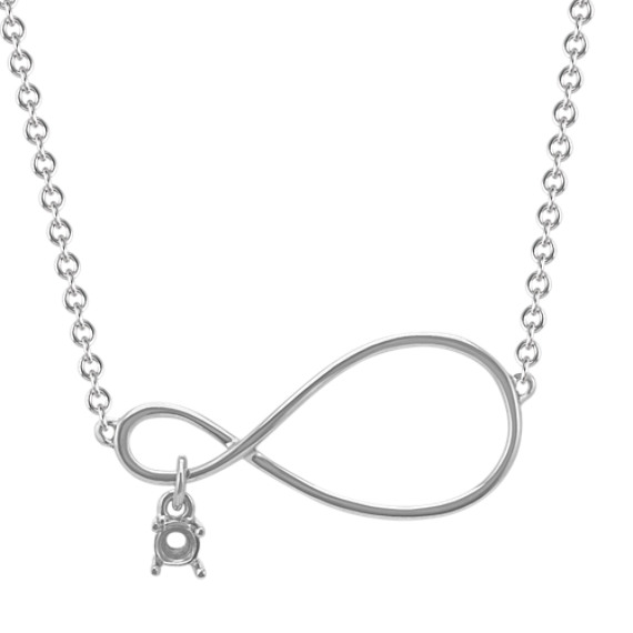 Personalized Infinity Necklace for Round Gemstone in 14k White Gold (18 in)