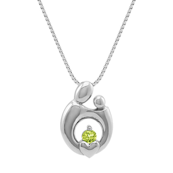 Personalized Mother & Child Pendant in 14k White Gold (18 in)