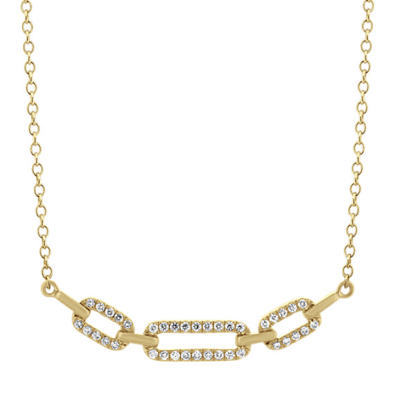 Petite Bella Link Diamond Necklace in 14k Yellow Gold (20 in)