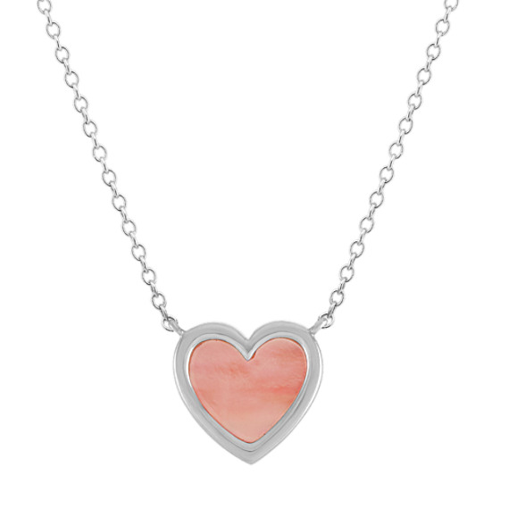 Pink Mother-of-Pearl Heart Necklace (18 in)