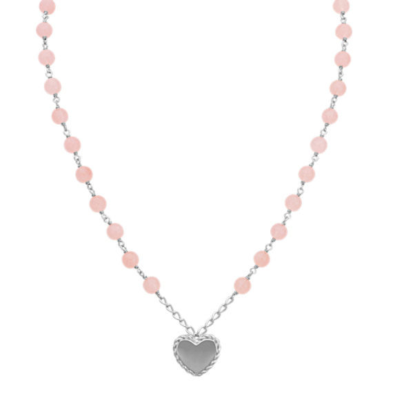 Pink Quartz and Sterling Silver Heart Necklace (18 in)