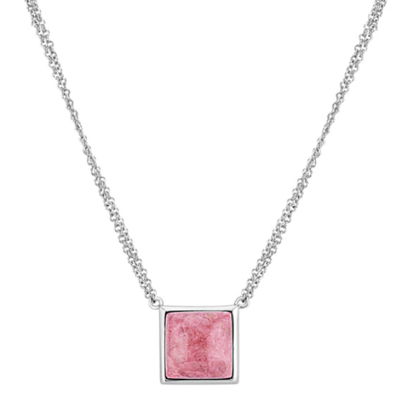 Pink Rhodonite Double Chain Necklace in Sterling Silver (16 in)