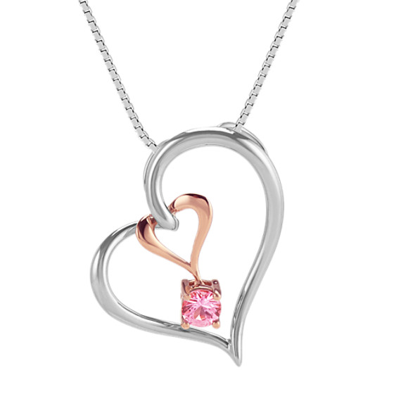 Pink Sapphire Double Heart Pendant (20 in)