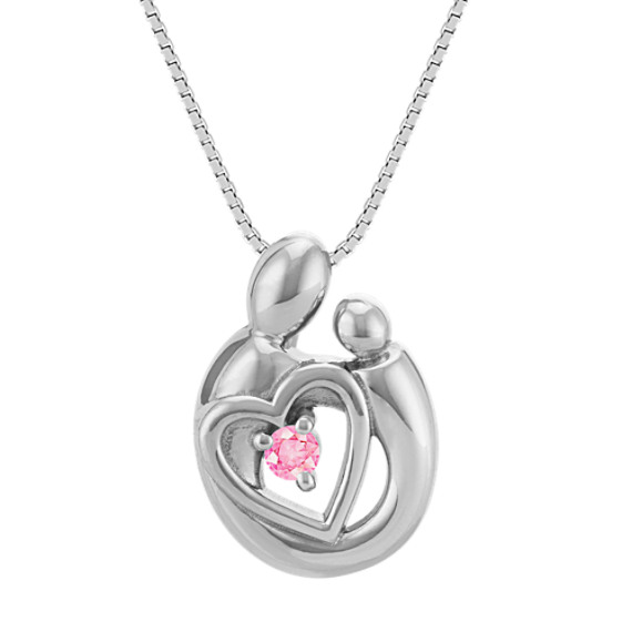 Pink Sapphire Mother & Child Heart Pendant in Sterling Silver (18 in)