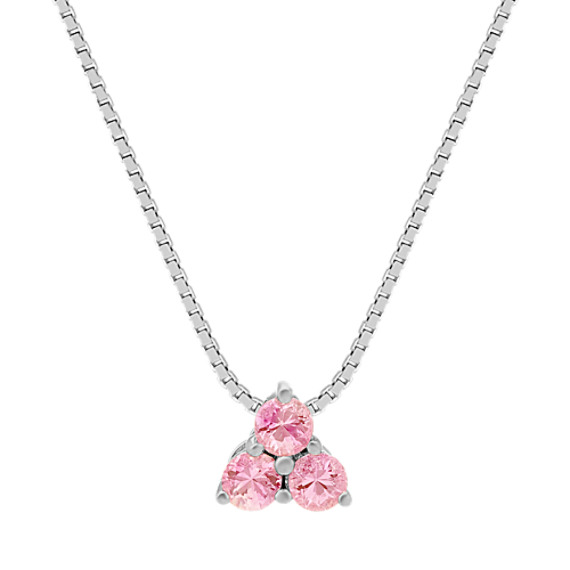 Pink Sapphire Pendant in Sterling Silver (20 in.)
