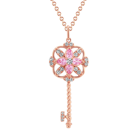 Pink Sapphire and Diamond Key Pendant (22 in)