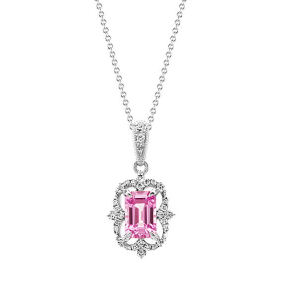 Pink Sapphire and Diamond Pendant (20 in)