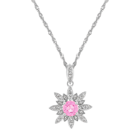 Pink Sapphire and Diamond Pendant (20 in.)