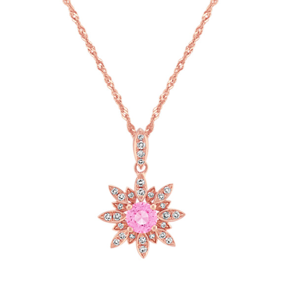Pink Sapphire and Diamond Star Pendant (20 in.)