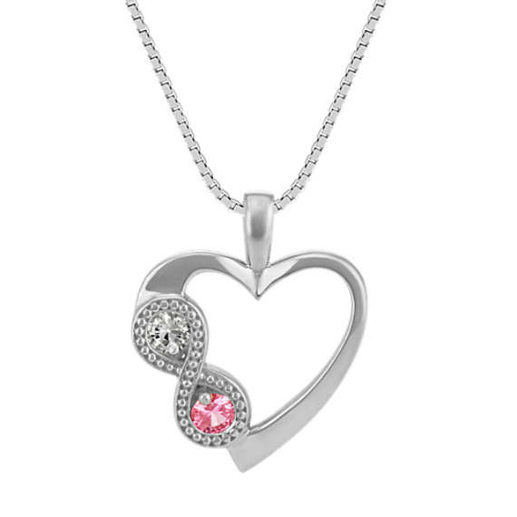 Pink and White Sapphire Infinity Heart Pendant (20 in)