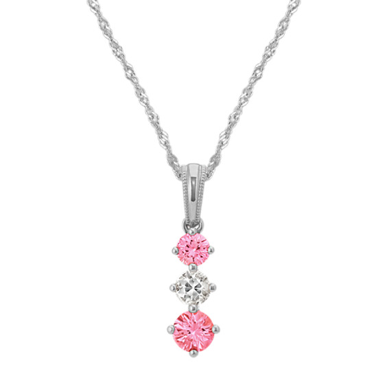 Pink and White Sapphire Pendant (20 in)