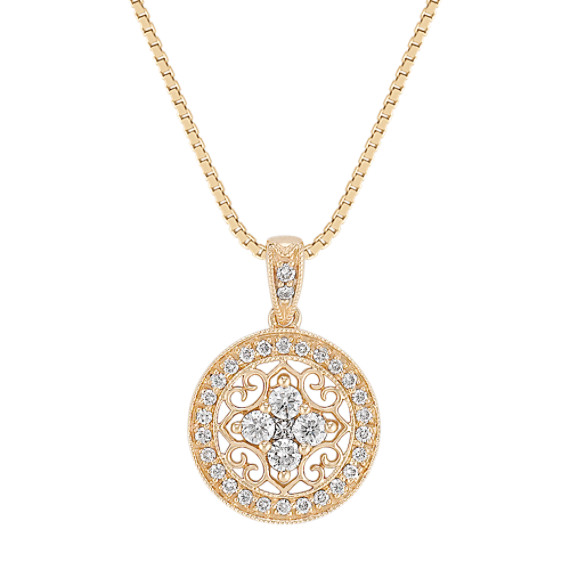 Princess Cut and Round Diamond Circle Pendant (18 in)