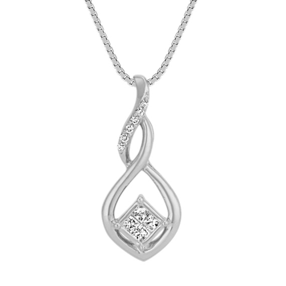 Princess Cut and Round Diamond Swirl Pendant in 14k White Gold (18 in)