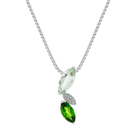 Quartz, Chrome Diopside and Diamond Pendant (20 in.)