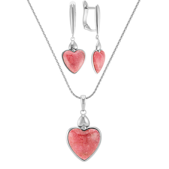 Rhodonite Heart Pendant and Earrings Matching Set (24 in)