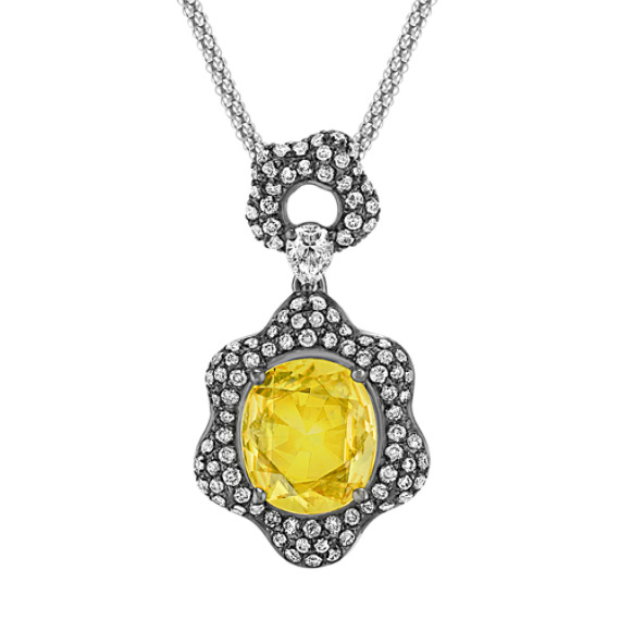 Rose Cut Oval Yellow Sapphire, Pear Shape and Round Diamond Pendant with Black Rhodium (22 in)