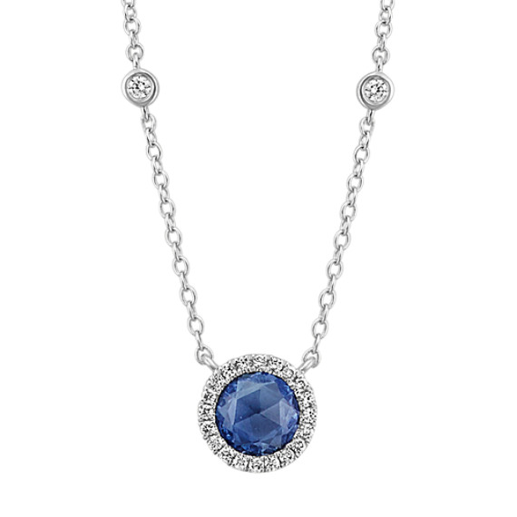 Rose Cut Sapphire and Diamond Necklace (18 in.)