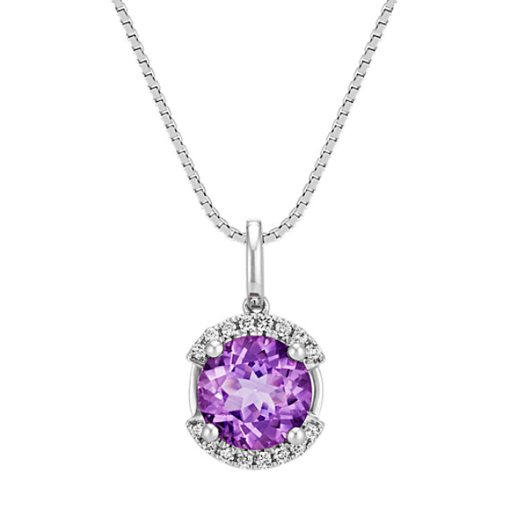 Round Amethyst and Diamond Sterling Silver Pendant (18 in)