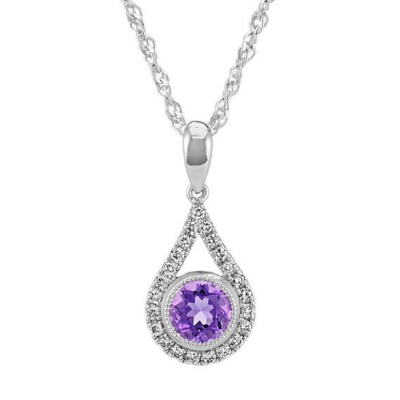 Round Amethyst and Diamond Teardrop Pendant in Sterling Silver (20 in)