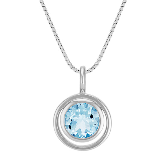 Round Aquamarine Bezel-Set Pendant (18 in)