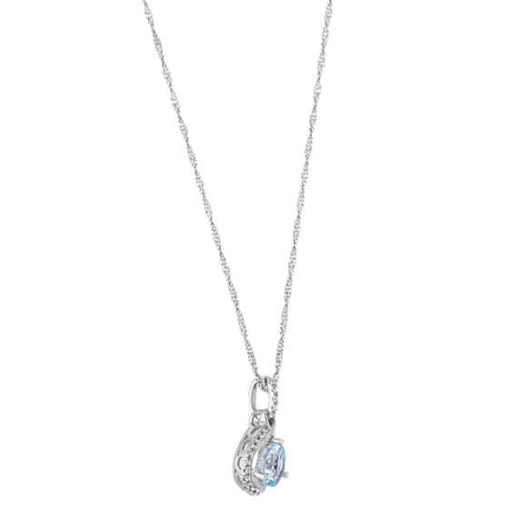 Round Aquamarine Pendant with Diamonds (20 in) image