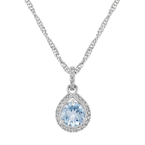 Round Aquamarine Pendant with Diamonds (20 in)