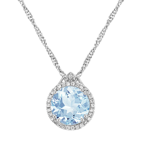 Round Aquamarine and Round Diamond Pendant (20 in)