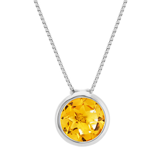 Round Bezel-Set Citrine Pendant in Sterling Silver (20 in)