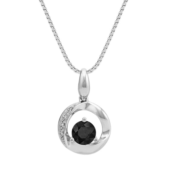 Round black sapphire circle pendant with diamond accent 18 in round black sapphire circle pendant with diamond accent 18 in mozeypictures Image collections