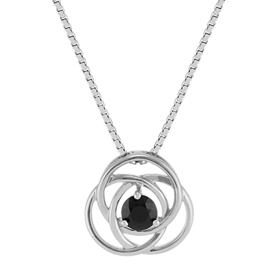 Round Black Sapphire Swirl Knot Sterling Silver Pendant (18 in)
