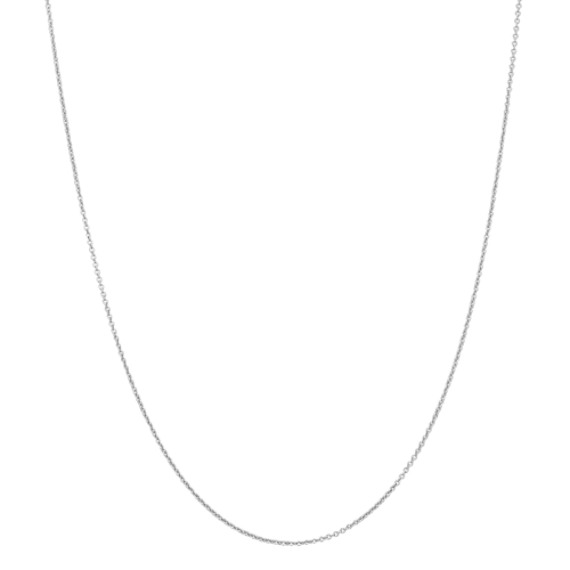 Round Cable Chain in 14k White Gold (30 in)