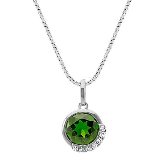 Round Chrome Diopside and Diamond Pendant in Sterling Silver (20 in)